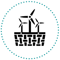 Marketplace Logo with Basket and Windmills